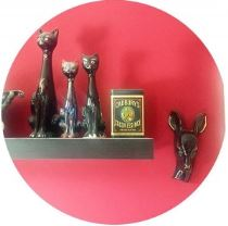 Vintage 1950s ceramic cats and deer head