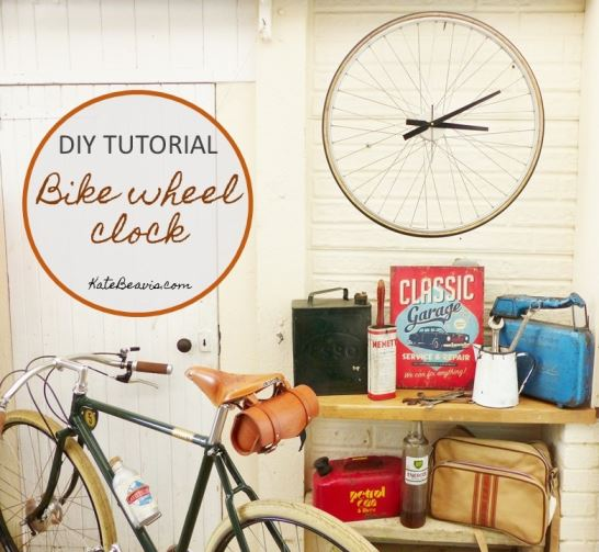 DIY Tutorial: How to make a bike wheel clock by Kate Beavis.com