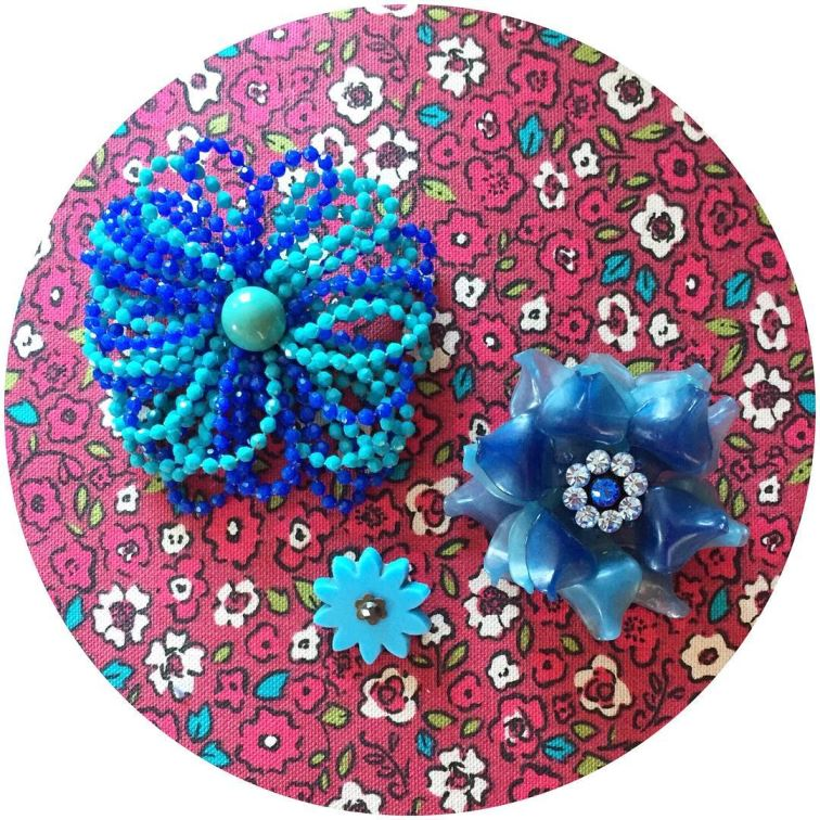 Vintage blue flower brooches on Kate Beavis blog