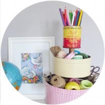 Upcycled tins desk tidy from Reloved magazine by Kate Beavis