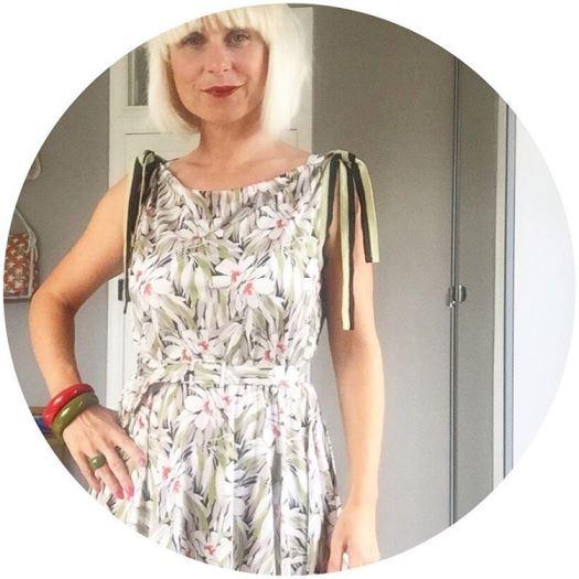 Kate Beavis wearing a French vintage dress