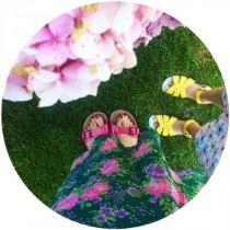Pink Birkenstocks and yellow Salt Water Sandals on Kate Beavis blog