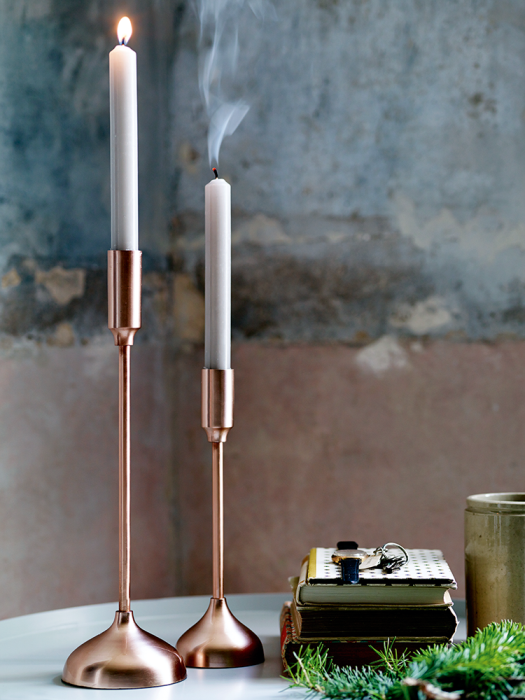 Copper candlesticks from Cox and Cox as featured on Kate Beavis.com blog