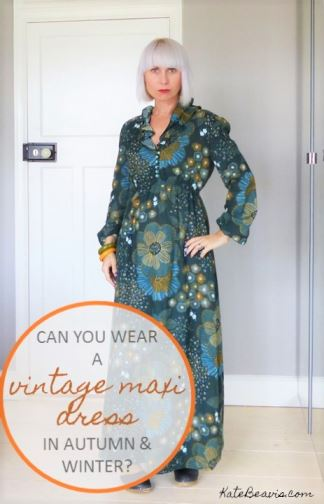 Vintage 1970s autumn maxi dress fashion blog by Kate Beavis