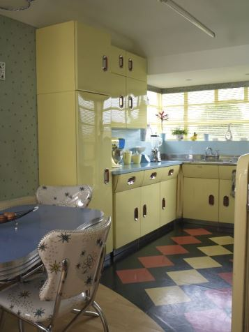 Get the Vintage 1950s Kitchen Look English Rose kitchen from Style Your Modern Vintage home book by Kate Beavis