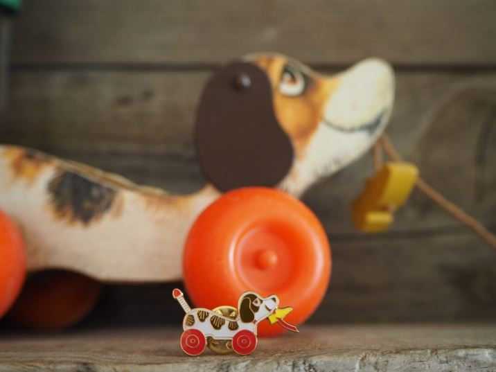 Vintage Pin Club dog toy pin