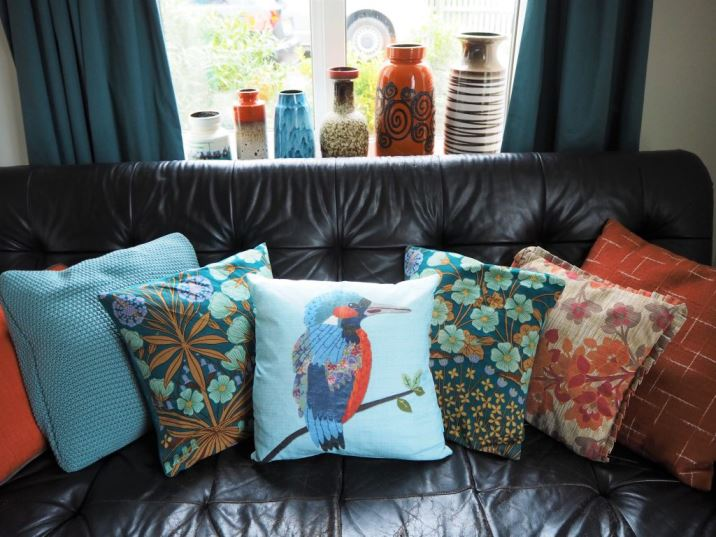 Vintage cushions plus Blue kingfisher cushion by Perkins and Morley