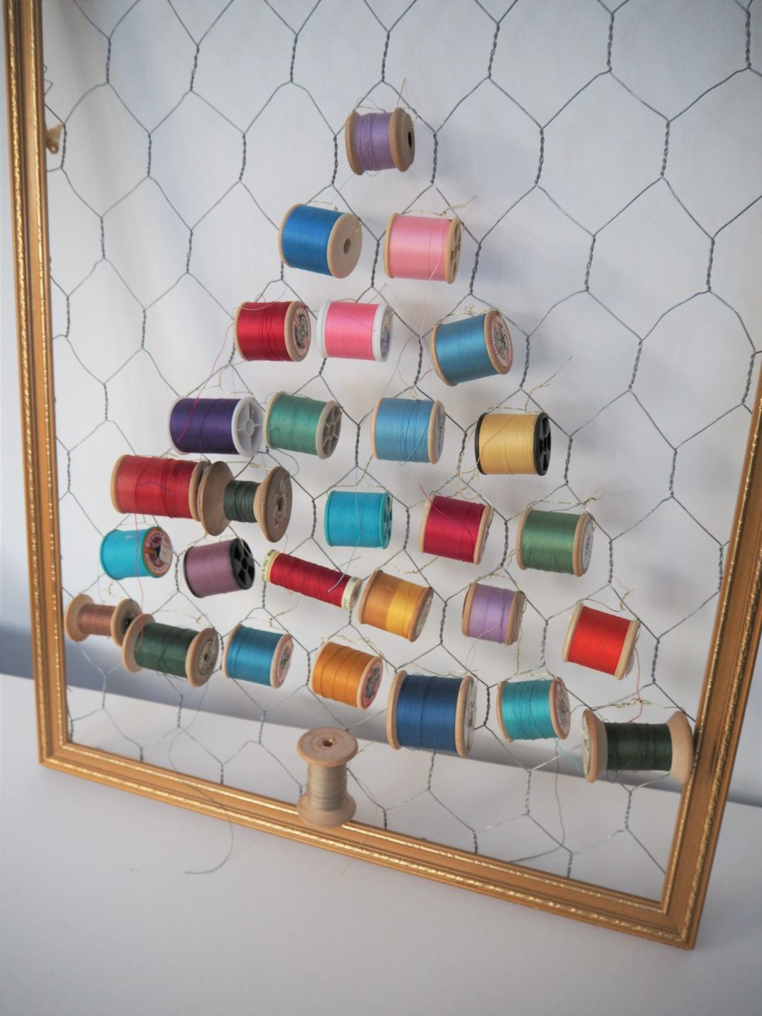 How to make an upcycled cotton reel Christmas tree