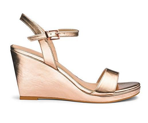 gold wedge shoes by Simply Be