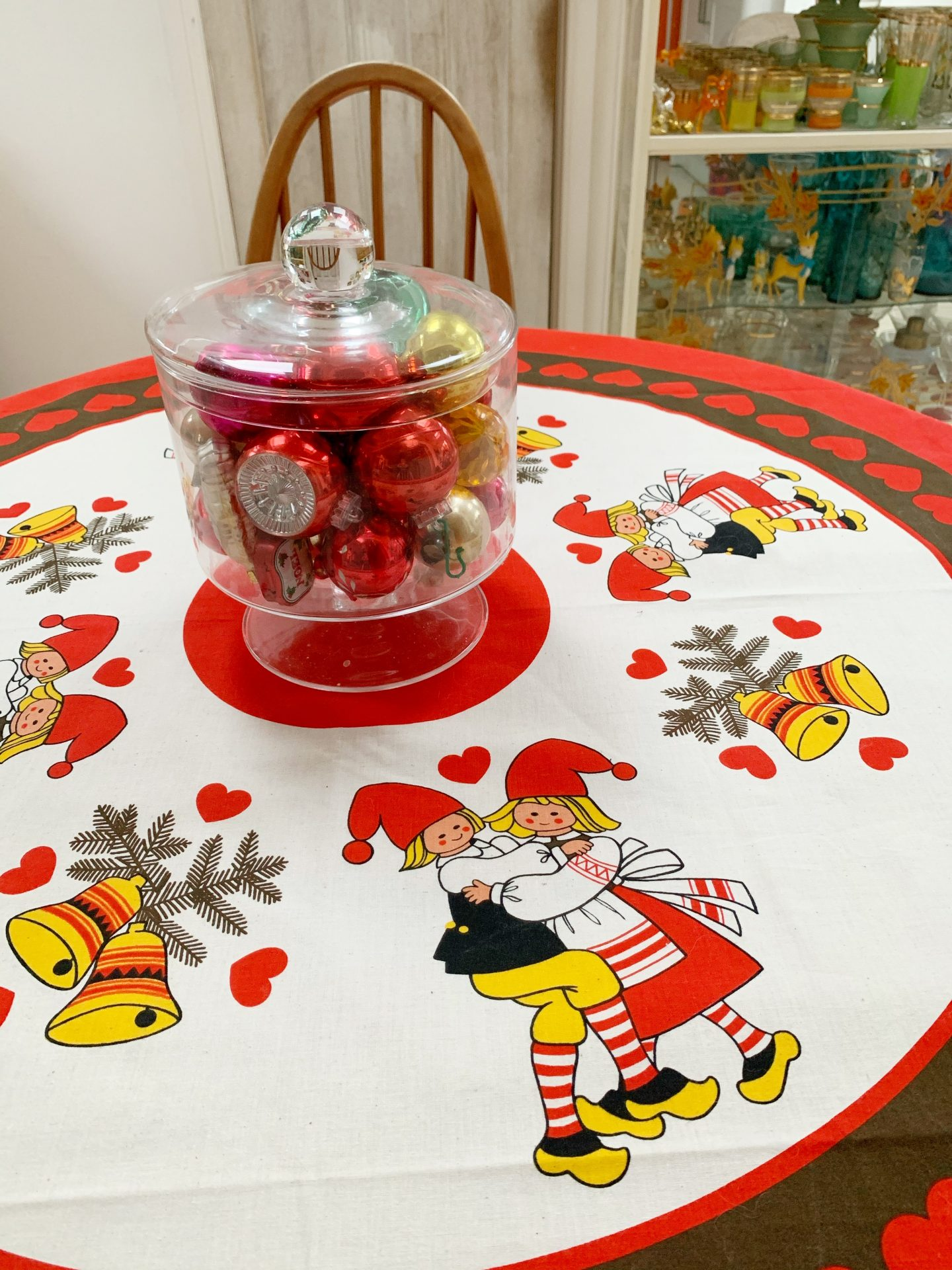 Our Vintage Christmas Decorations  and retro Scandi table cloth