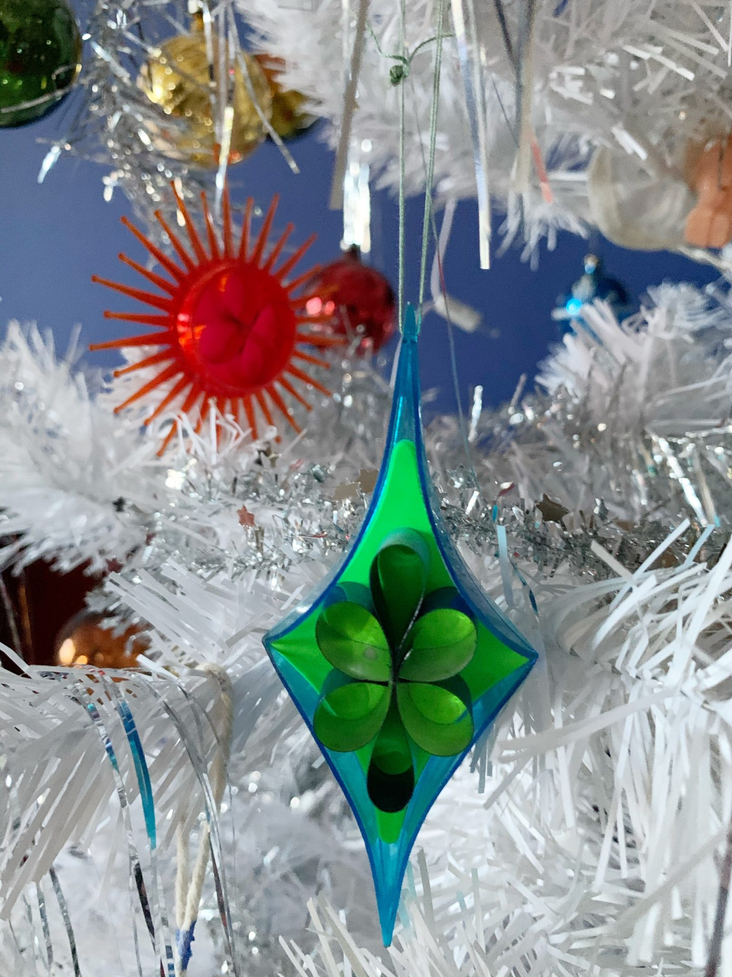Our Vintage Christmas Decorations with white tree and blue fairy