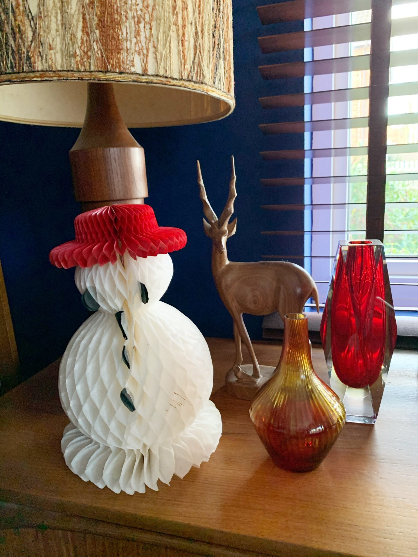 Our Vintage Christmas Decorations with honeycomb decorations