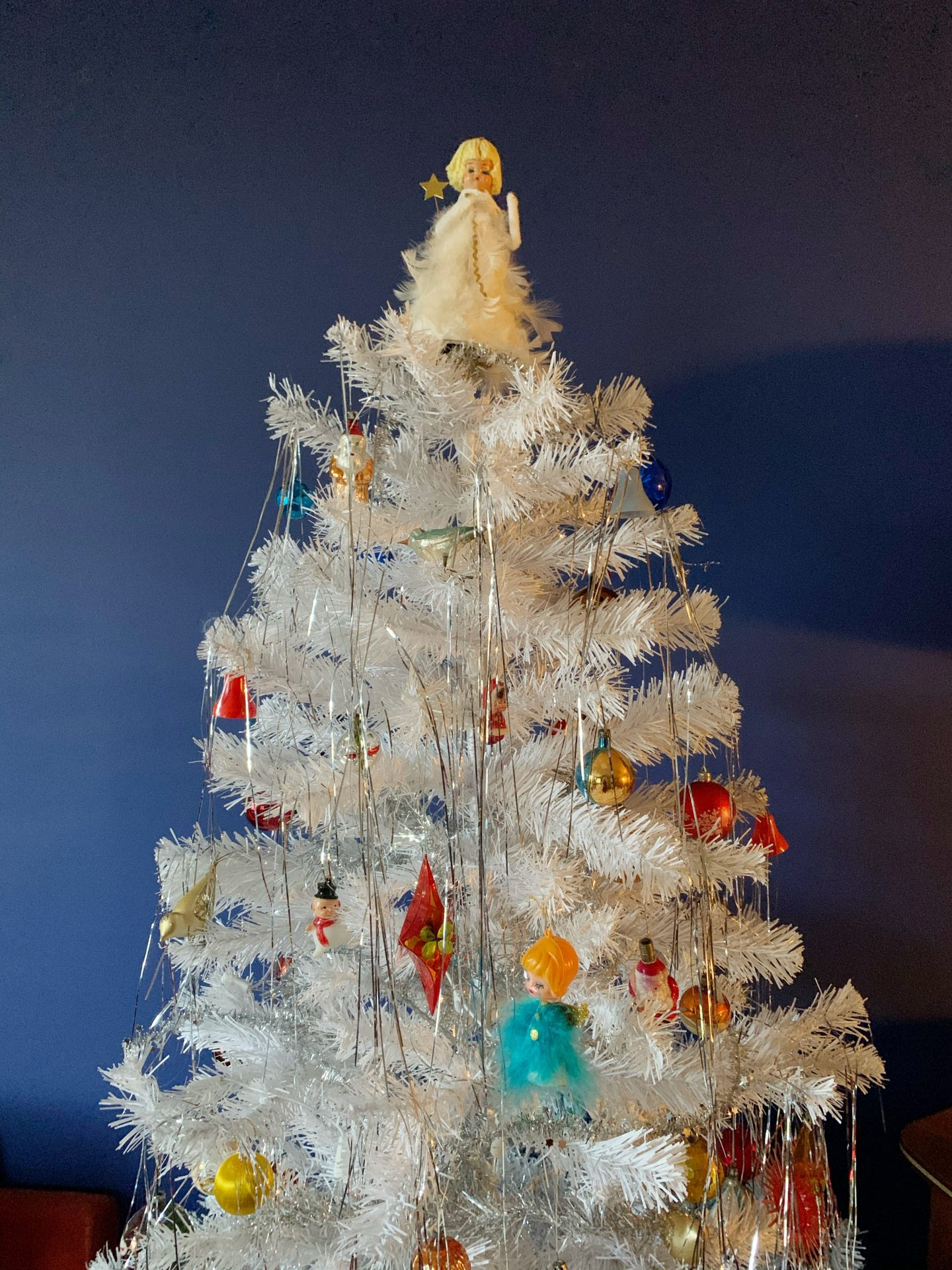 Our Vintage Christmas Decorations with white tree