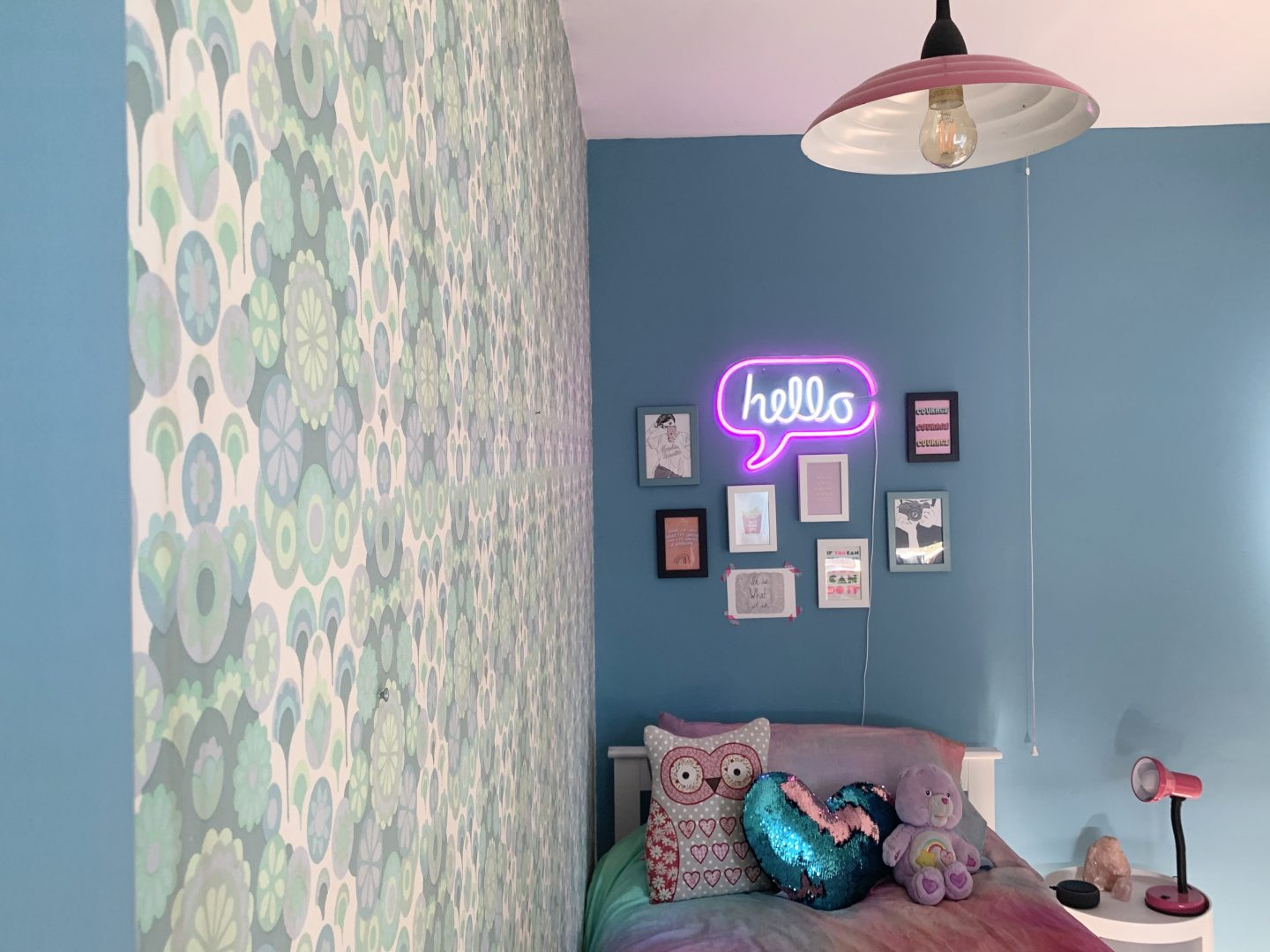 Our Daughter's Blue And Neon Pink bedroom With Valspar Paint