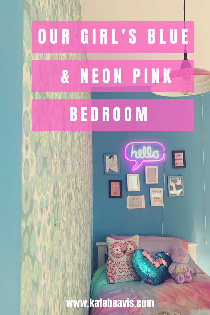 Our Daughter's Blue And Neon Pink bedroom With Valspar Paint And Vintage Wallpaper